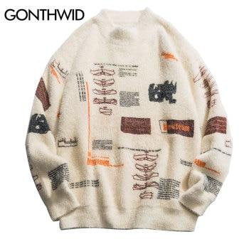 GONTHWID Graffiti Knitted Pullover Jumper Sweaters Streetwear Hip Hop Casual Long Sleeve Turtleneck Knitwear Sweater Men Tops