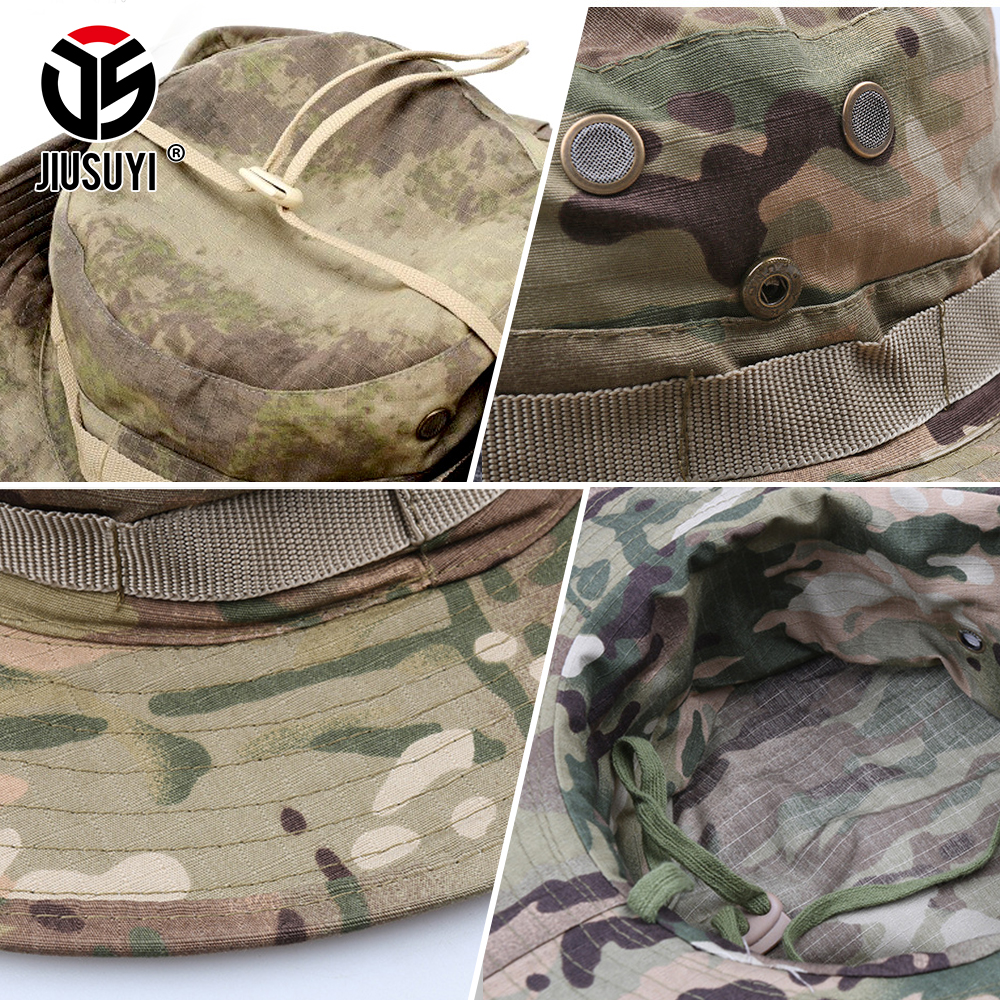 Multicam Tactical Airsoft Sniper Camouflage Bucket Boonie Hats Nepalese Cap SWAT Army Panama Military Accessories Summer Men 4