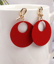 Fashion Gold Bow Color Red Iron Wafer Geometric Drop Earrings for Women Brincos Vintage Earring 2020 Irregular Jewelry Girl Gift hot fashion brincos vintage long square crystal earring big geometric stud earrings for women classic gold color fine jewelry