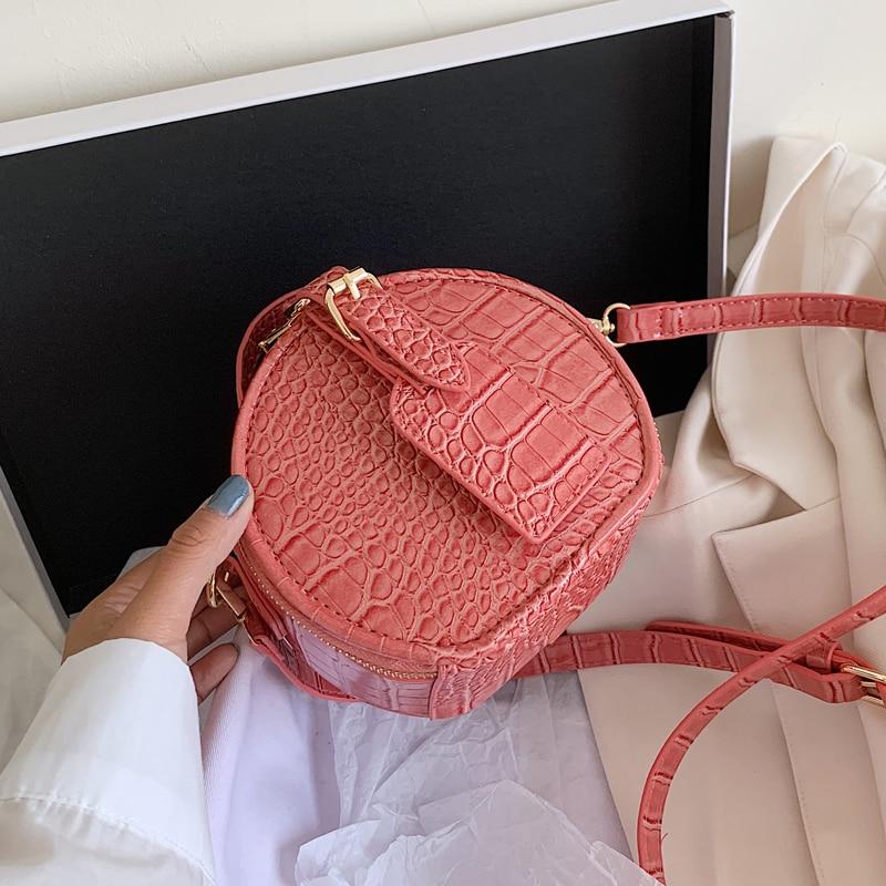 Stone Pattern Round Crossbody Bag 2020 Summer New High-quality PU Leather Women's Designer Handbag Lock Shoulder Messenger Bag