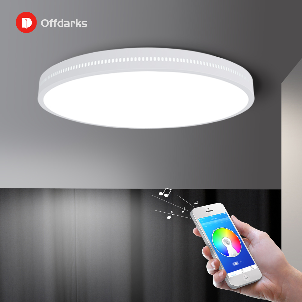 OFFDARKS Smart LED Ceiling Lamp 36W / 48W RGB Dimming APP Control Surface Mount Ceiling Light Bluetooth Speaker