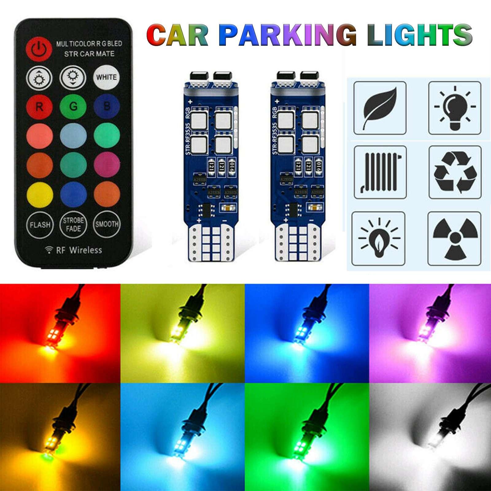 Auto Parkplatz Lichter Multi-Farbe RGB 168 194 T10 Led-lampen W/RF Fernbedienung Auto Freiheit Lichter montage Lesen Lichter