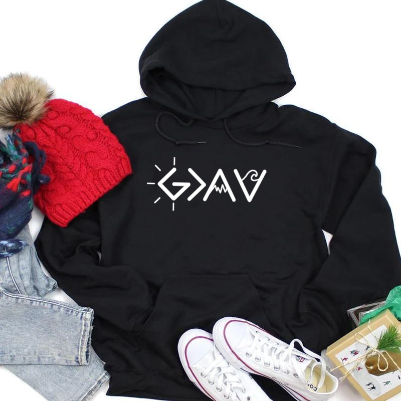 God Is Greater Than The Highs And Lows Grey Sweatshirt Harajuku Jumper Ulzzang Hoodie Long Sleeve Soft Lady Outfit Drop Shipping