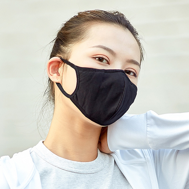 Unisex Mond Masker Katoen Blend Mannen Vrouwen Masker Gezicht Cover Zwart