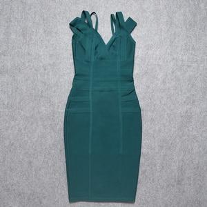 Image 5 - BEAUKEY 2019 Hot Sex  V Neck Green Bandage Dress Double Strap Party Club Elastic White Red Bodycon Vestido Plus Size XL China