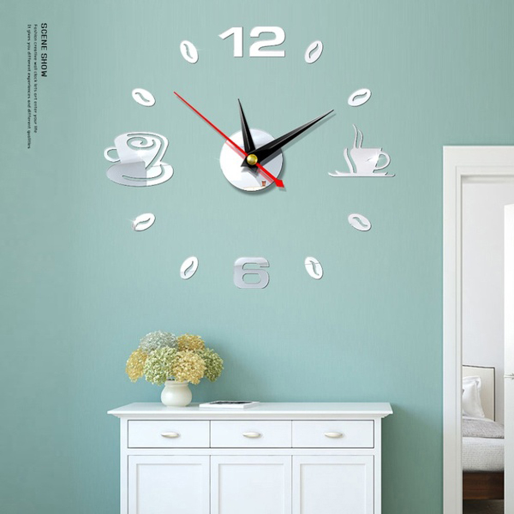 Mirror Clock 3D Clock DIY Quiet Wall Clock Acrylic Decoration Interior Design Creative