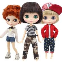 Buzlu DBS Blyth Doll oyuncak çocuk ortak vücut erkek vücut erkek oyuncak bebek kısa saç beyaz cilt çıplak bebek 30cm