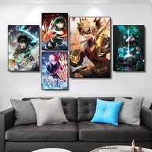 Janpneume anime meu herói academia lona cartaz da parede impressão arte de alta qualidade pintura imagem para sala estar quarto decoração casa