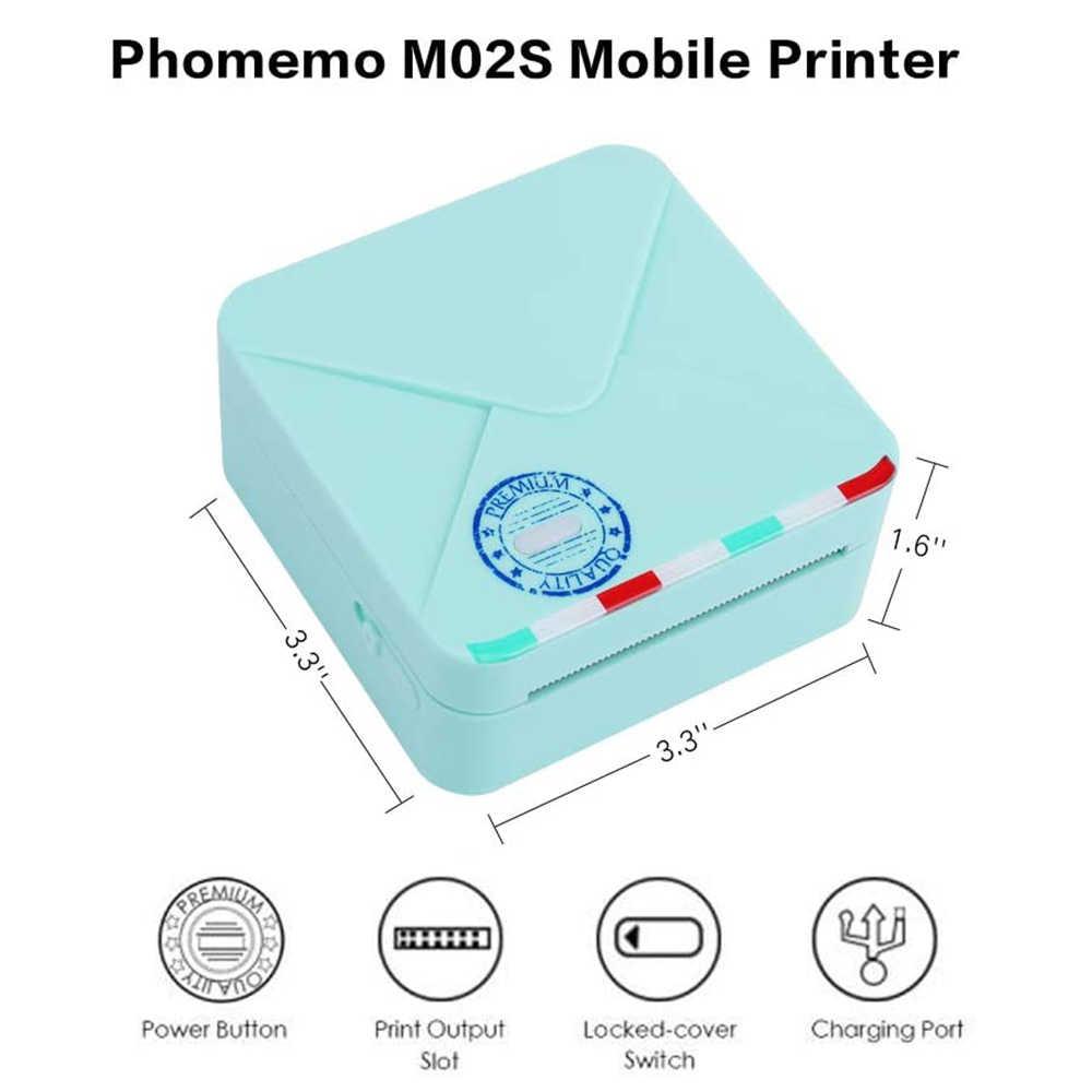 Phomemo M02S Saku Printer 300 Dpi HD Bluetooth Mini Termal Foto Iphone Stiker Label Saku Portabel Genggam Kecil Printer