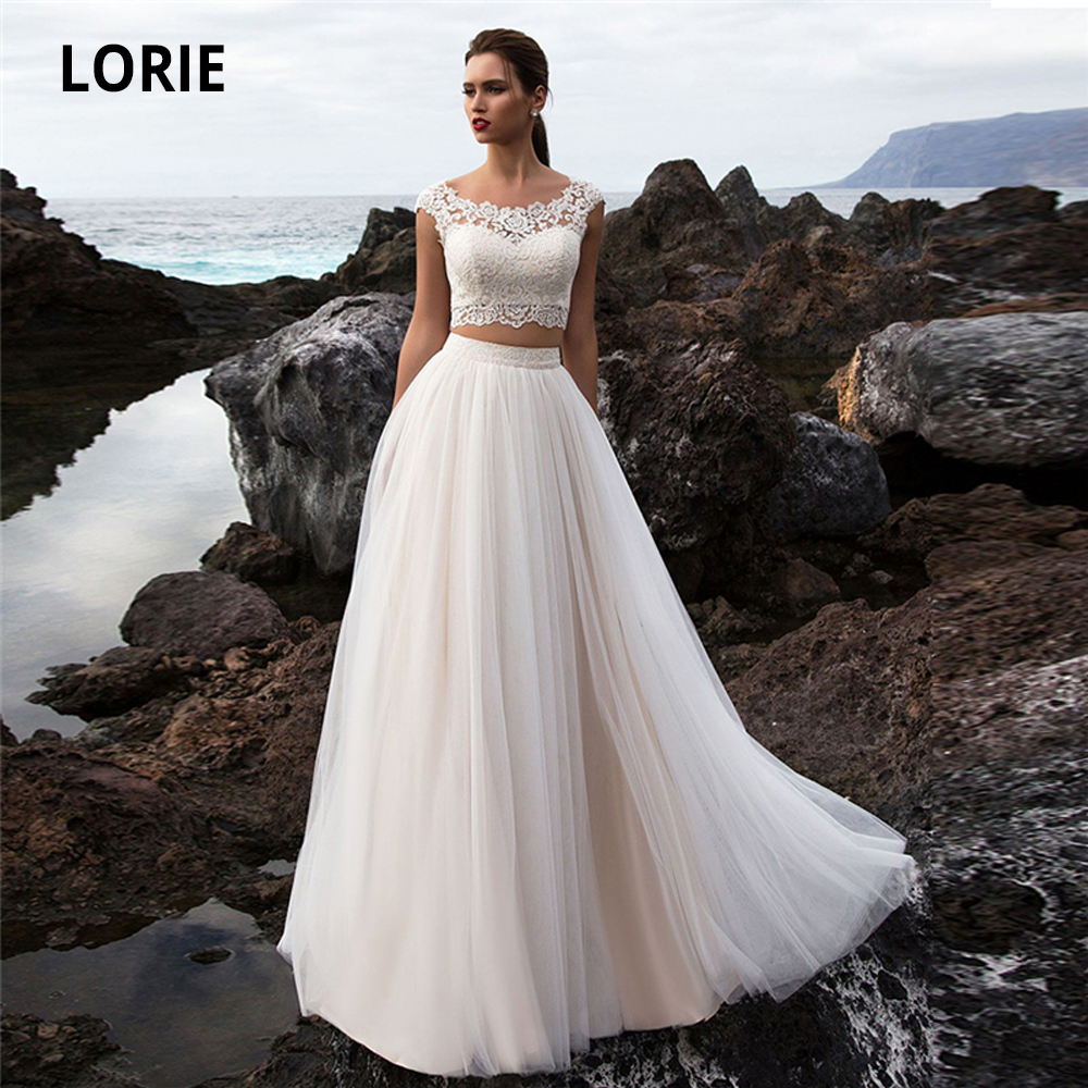 LORIE Two Pieces Beach Champagne Wedding Dresses Lace Appliques Soft Tulle Boho Bridal Gowns O-neck Cap Sleeve Wedding Gowns