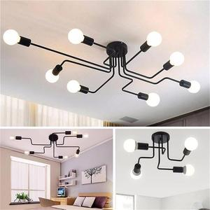 Image 1 - OYGROUP Vintage Ceiling Lights For Home Lighting Luminaire Multiple Rod Wrought Iron Ceiling Lamp E27 Bulb Living Room#CL06/CL08