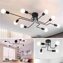 OYGROUP lampy sufitowe w stylu Vintage do oświetlenia domu oprawa wiele prętów kute lampa sufitowa żelazna E27 żarówka salon # CL06/CL08
