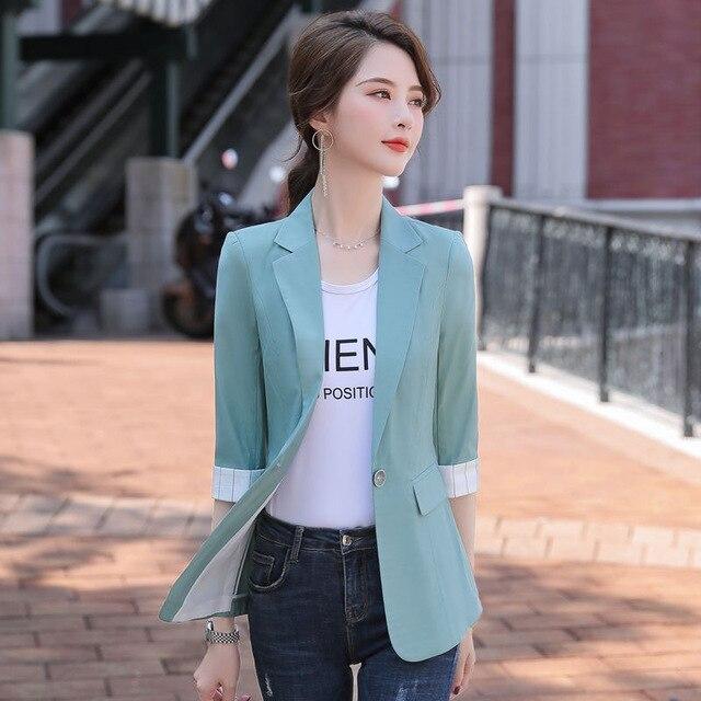 2021 Korean Fashion Women Short Blazers And Jackets Seven Sleeve Outerwear Elegant Ladies Coats Work Wear Black Pink Plus Size 6