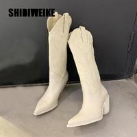 Женские сапоги из микрофибры с острым носком ковбойские сапоги в западном стиле 1