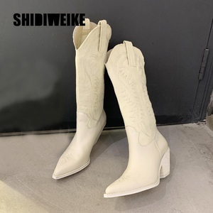 fashion embossed microfiber leather women boots pointed toe western cowboy boots women Knee-High boots chunky wedges V139