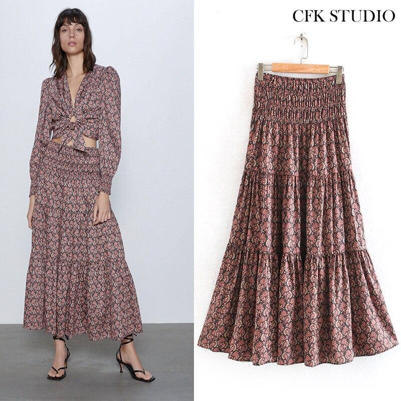 2020 New Za Women Midiskirt With Elastic Waist Floral Print Elegant A-line Midiskirt Femme Summer Loose Midiskirt