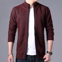 Мужская одежда свитер мужской корейский стиль стильный стоячий воротник Повседневный свитер мужской плюс бархат Вязаный Кардиган Куртка