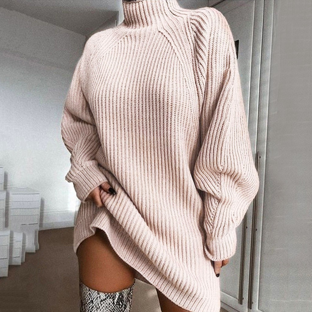 pull femme nouveaute 2020 sweater women Solid Long Sleeve Turtleneck Winter Loose Pullover Sweater Dress jersey mujer