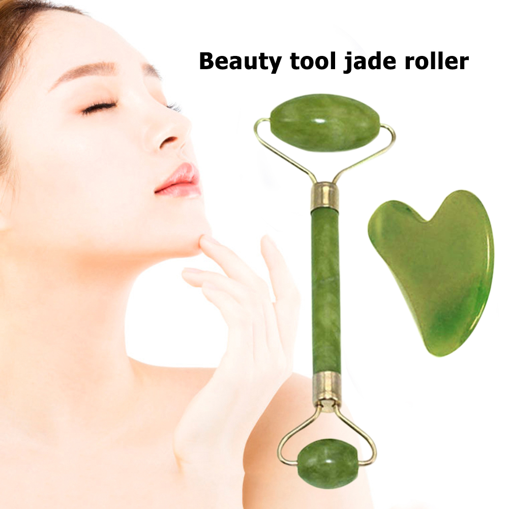 Facial Massage Roller Guasha Board Double Heads Jade Stone Face Lift Body Skin Relaxation Slimming Beauty Neck Thin Lift Big Sale D37896 Cicig