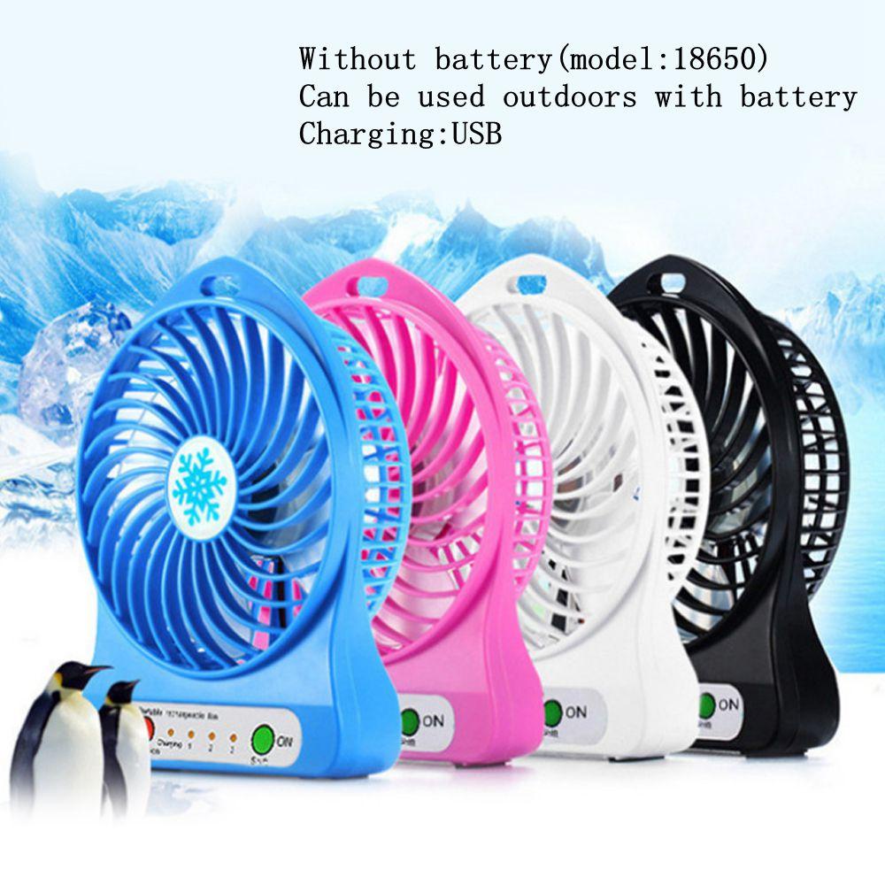 1PCs Portable Mini Desk Fan USB Rechargeable Fan With LED Light Handheld 3 Speed Wind Adjustable Fan For Home Office Travel