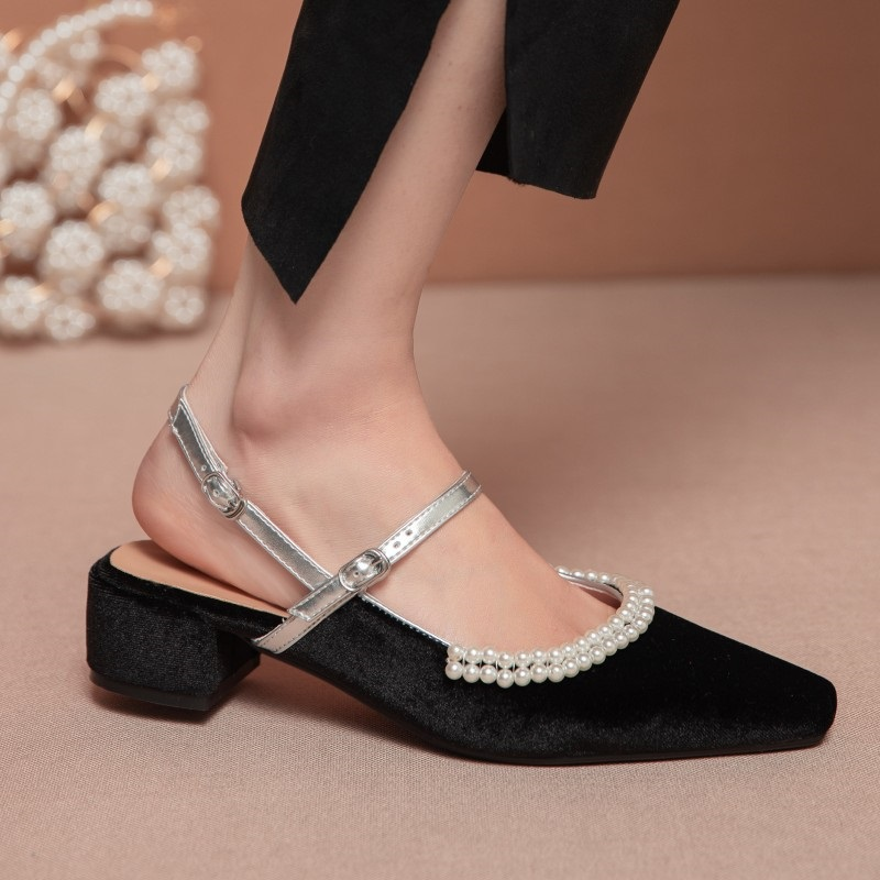 high heels women pumps luxury brand square heel slingbacks shoes buckle beading pointed toe party wedding shoes lady plus size