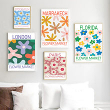 Abstract Flower Market Tokyo London Paris Wall Art Canvas Painting Nordic Posters And Prints Wall Pictures For Living Room Decor