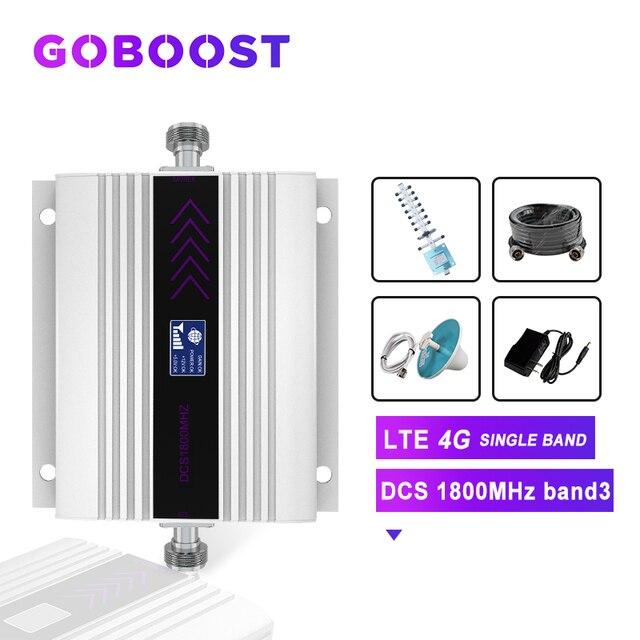 Repeater DCS 1800MHZ 4G Zellulären Signal Verstärker LCD Display Handy Signal Booster Yagi + Decke Antenne Koaxial kabel