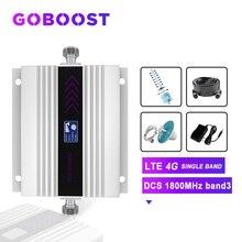 Tekrarlayıcı DCS 1800MHZ 4G hücresel sinyal amplifikatörü LCD ekran cep telefonu sinyal güçlendirici Yagi + tavan anten koaksiyel kablo