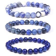 Fashion Men Beaded Bracelet Natural Stone lapis lazuli Tiger Eye Beads Stretch Bracelet Round Agates Bracelet Jewelry for Women
