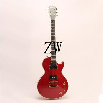 Top Quality Zuwei 6 Strings Electric Guitar Bone Nut P90 Pickups Green Inlay Grover Tuner Goldtop Ebony fingerboard Metal Red image
