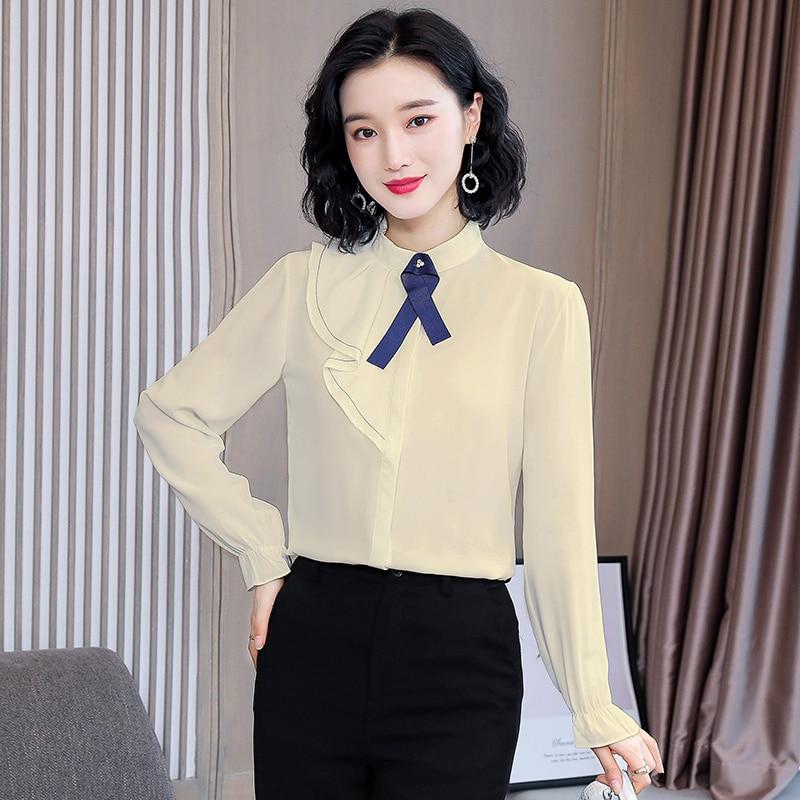Korean Women Shirts Women Chiffon Blouses Shirt Plus Size Elegant Women Solid Ruffles Shirt Blusas Mujer De Moda 2020 Ladies Top