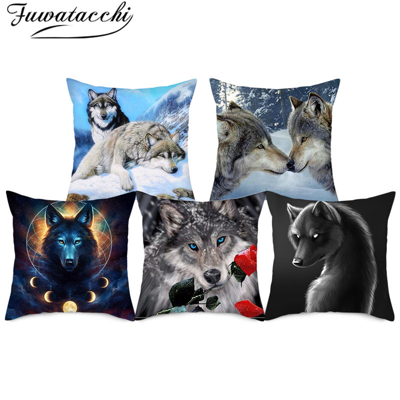 Fuwatacchi Wild Wolf Photo Pillow Cases Fierce Animal Cushion Cover Printed Throw Pillow Cover For Home Sofa Decorative Pillows