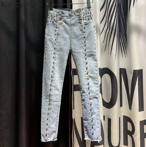 Fashion Wild Button Jeans Women's 2020 Spring New High-Waist Heavy Process Beaded Pencil Pants Diamond Jeans Village Jeans