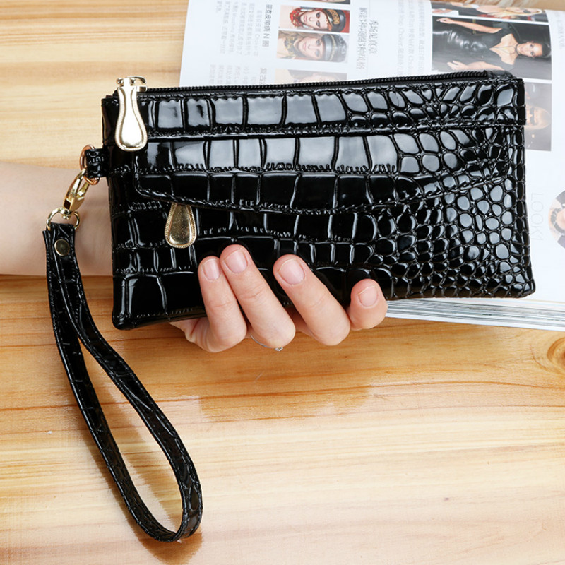 Patent Leather Women's Wallets Fallow Long Ladies Double Zipper Wallet Clutch Bag Design Red Purse Crocodile Purses