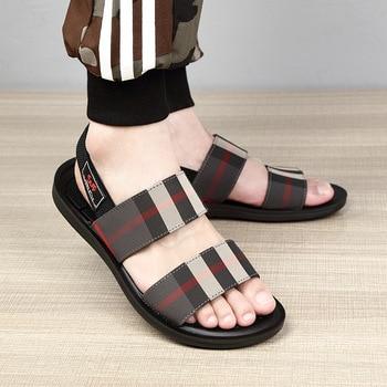цена на Men sandals fashionable men's slippers mens casual shoes high quality lacing plaid stripe genuine mens Canvas  Ankle-Wrap Plaid