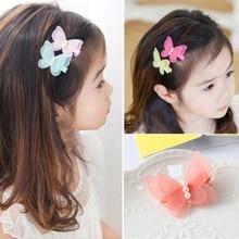 1 шт., цветные Мультяшные зажимы для волос с бабочкой для девочек, заколка для волос для маленьких детей, модная одежда принцессы, аксессуары