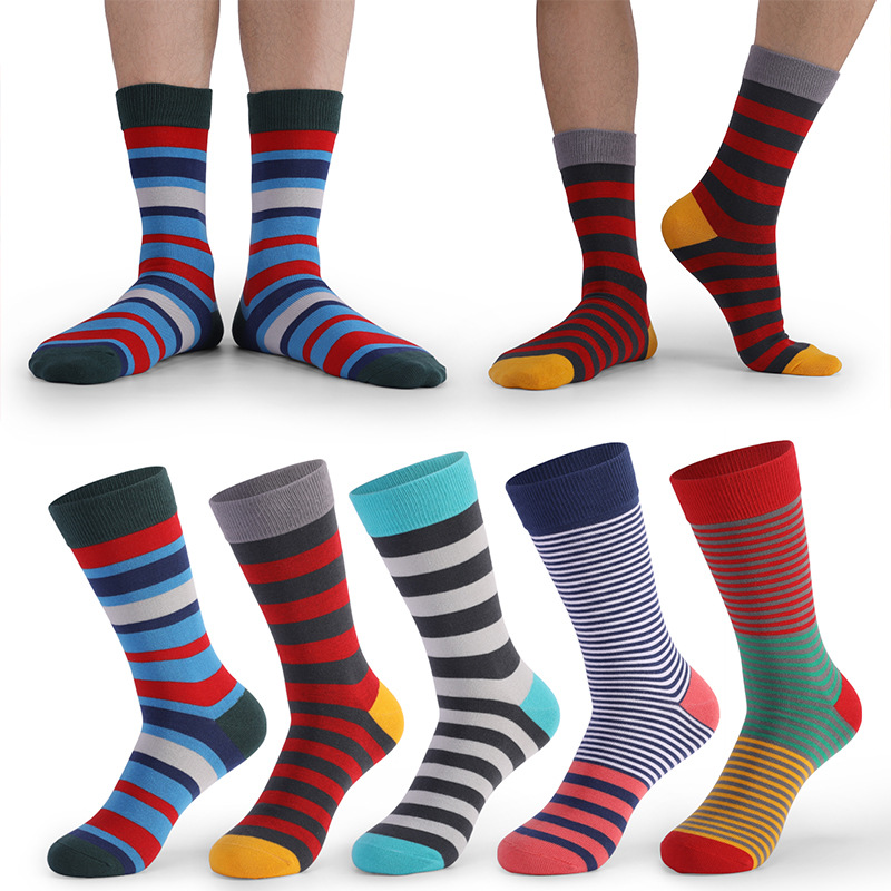 Large Size Men Socks Hot Sale Standard Business Casual 2020 New Socks Striped Happy Cotton Sokcs Colorful Men Long Socks