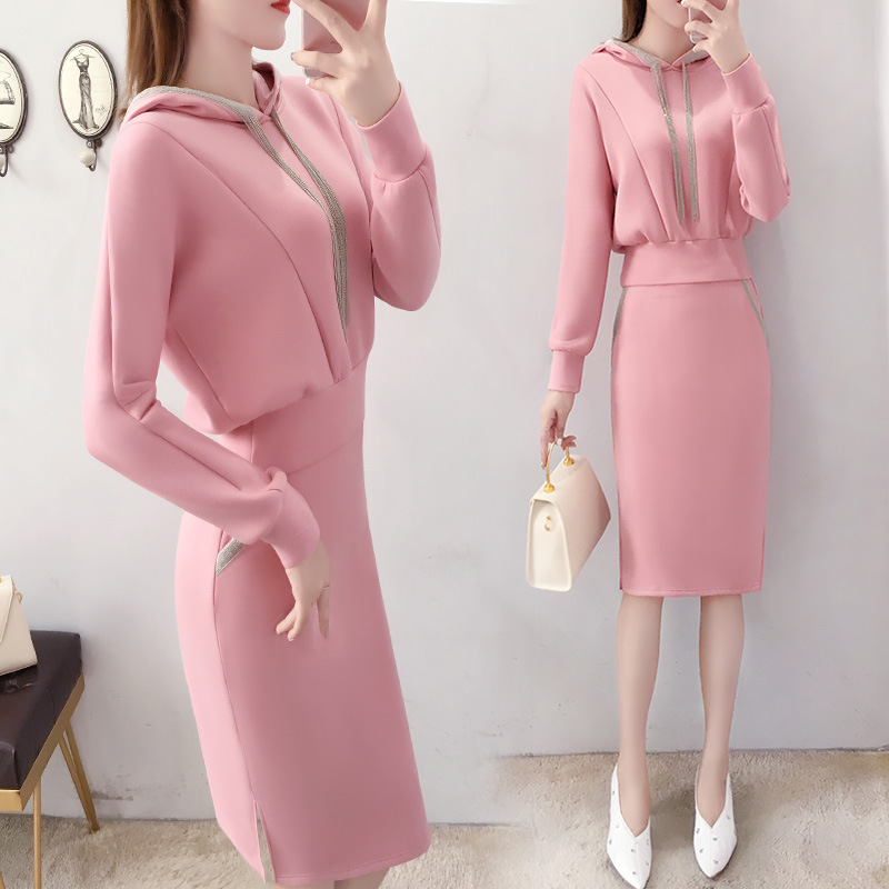 By Age Dress Outfit 2019 New Style Autumn And Winter Fashion Goddess-Style Pink Hoodie Skirt Two-Piece Set Western Style
