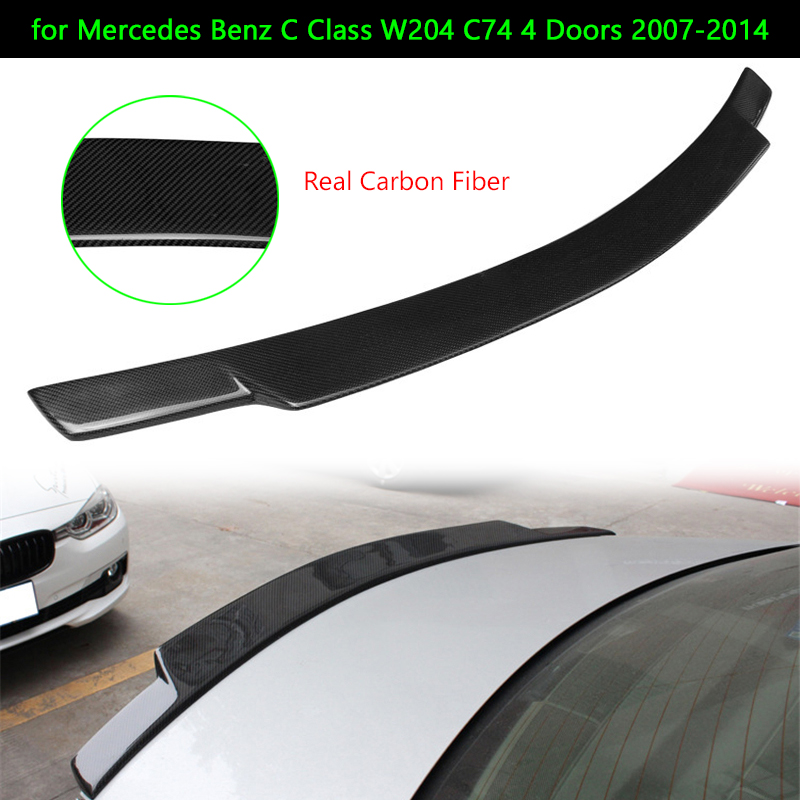Car Rear <font><b>Spoiler</b></font> Wing Carbon Fiber Rear Truck Lip for <font><b>Mercedes</b></font> <font><b>Benz</b></font> <font><b>C</b></font> <font><b>Class</b></font> <font><b>W204</b></font> C74 4 Doors 2007-2014 Car Rear Wing Tail Lip image