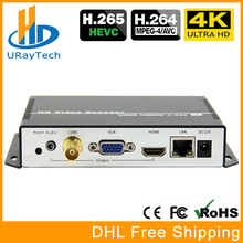 UHD 4K H.265 H.264 HDMI VGA CVBS Decoder HD SD Video Audio IP Streaming Decoder HTTP RTSP RTMP UDP HLS To HDMI VGA CVBS Receiver ahd to hdmi vga cvbs converter monitor video to hdmi vga cvbs converter