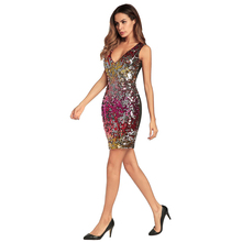 Spring and summer new style European American sling V-neck dress Sexy sequin