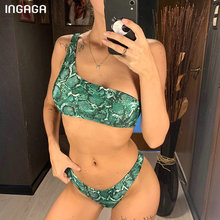 INGAGA One Shoulder Bikini Snake Swimwear Women Sexy Lace-up Swimsuit New Thong Bathing Suit Micro Bikinis 2019 Mujer Biquini