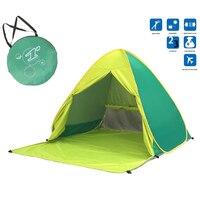 Katlanır plaj çadırı otomatik Pop Up çadır güneş barınağı Anti-uv güneş gölge tente açık kamp çadırı 2-3 kişi aile çadırı