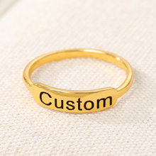 Personalized Couple Wedding Ring Gold Silver Stainless Steel Engraved Initials Rings For Women Custom Jewelry Anniversary Gifts
