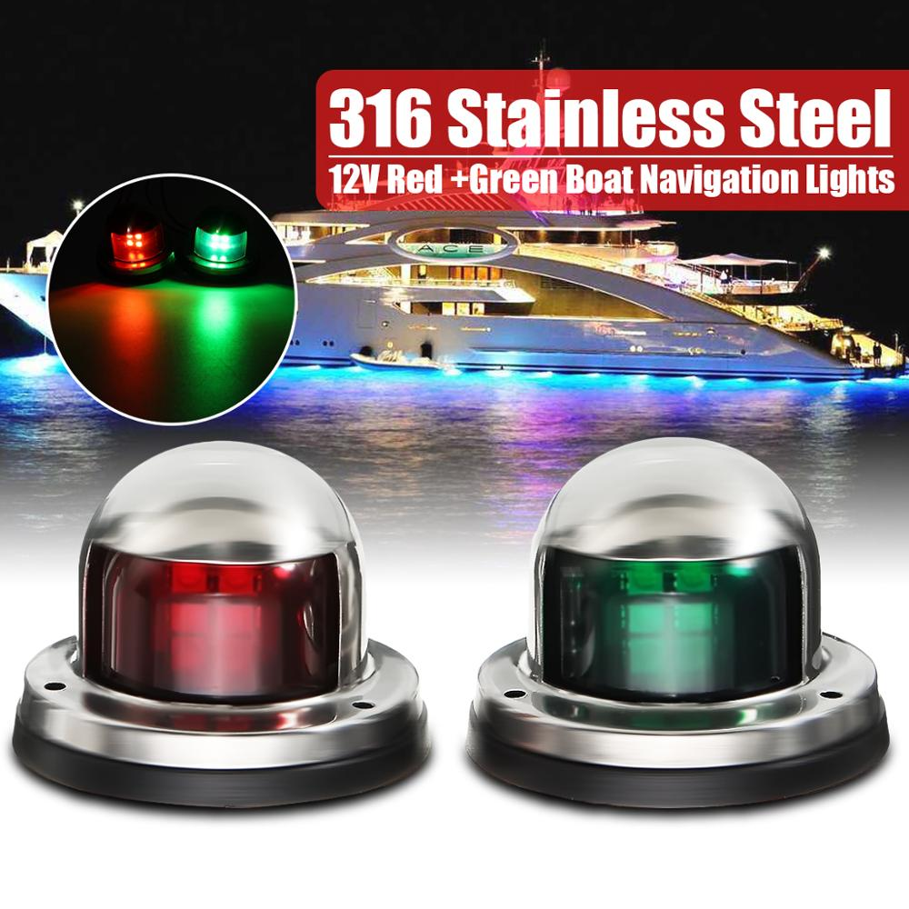 1Pair 12V Stainless Steel Red Green Bow LED Navigation Lights Boat Marine Indicator Spot Light Marine Boat Yacht Sailing Light