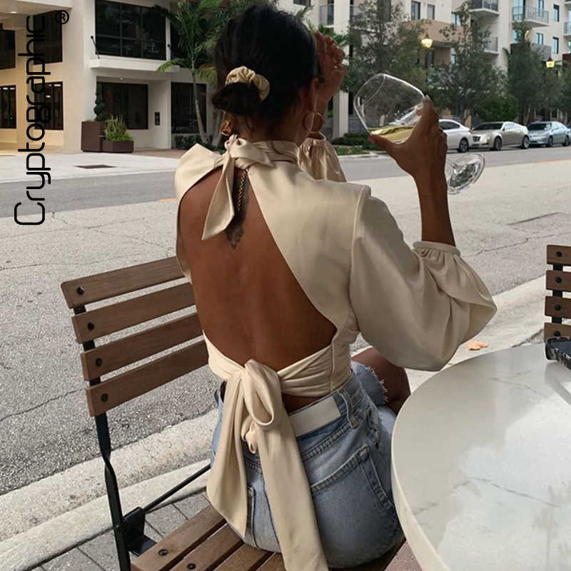 Cryptografische Vrouwelijke Shirts Blouses Lange Mouw Bladerdeeg Mouw Mode Criss Cross Satin Blouses Sexy Backless Hollow Out Crop Tops