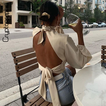 Cryptographic Female Shirts Blouses Long Sleeve Puff Sleeve Fashion Criss Cross Satin Blouses Sexy Backless Hollow Out Crop Tops criss cross sleeve crop tee
