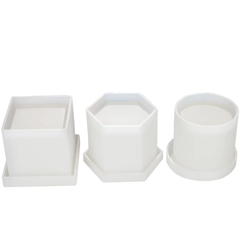 6 Pack Big Diy Planter Pot Mold Hexagon Cubic And Cylinder Resin Mold 3 Pack Coaster Silicone Mold Round Square Hexagon Square S
