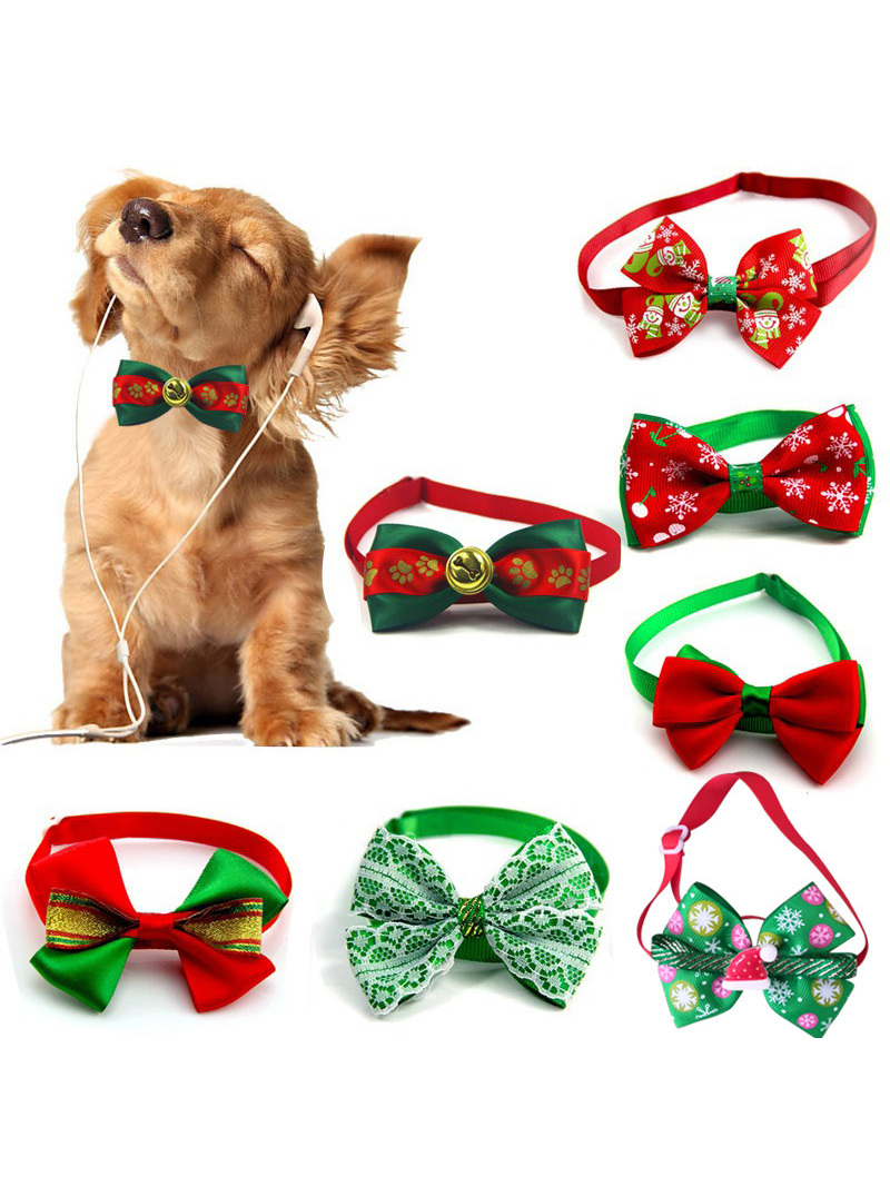 Bow-Tie Necklace Dog-Grooming-Accessories Puppy Dog-Collar Cats Holiday Adjustable