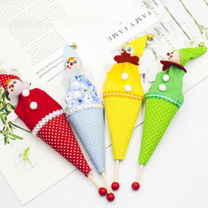Drewniane plamy lalki z kreskówek kreatywne zabawki dla dzieci boże narodzenie beczka człowiek tkaniny dla lalek ozdoby świąteczne Clown Puppet US